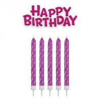 Happy Birthday Candle Set pink